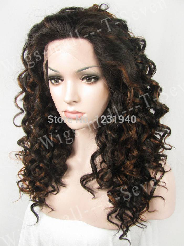 Spring Curly Hair Synthetic Lace Front Wig Free Wig Cap Dark Brown