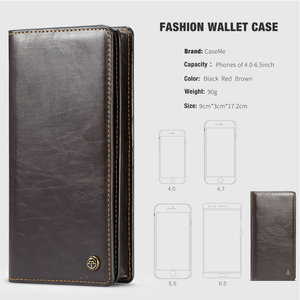 Image 4 - CaseMe Universal Leather Wallet Case For iPhone XR XS Max X 8 7 6S 5 SE For Samsung Note 9 8 S9 Card Zipper Wallet Phone Bag