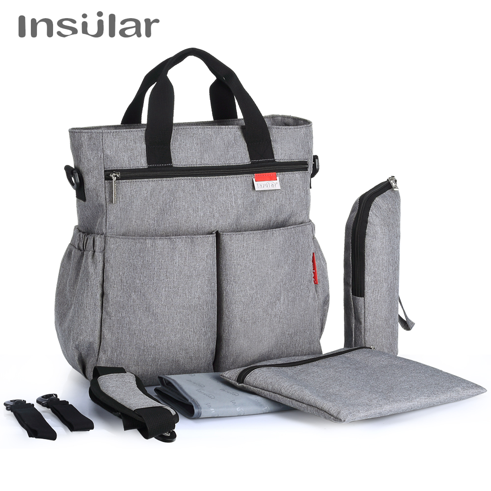 Insular Fashion Baby Diaper Bag Nappy Bags Waterproof Changing Bag Multifunctional Mommy Stroller Bag thermal insulation baby diaper bag for stroller waterproof nappy changing bags mommy stroller cart bag cooler bag for mom