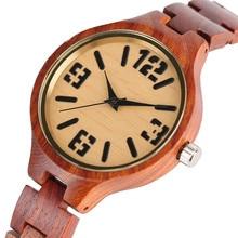 купить Bamboo Bangle Ladies Watches Full Red Sandalwood Novel Women Quartz Watch Fashion Creative Gift Bracelet Clasp Analog Wristwatch по цене 1415.3 рублей
