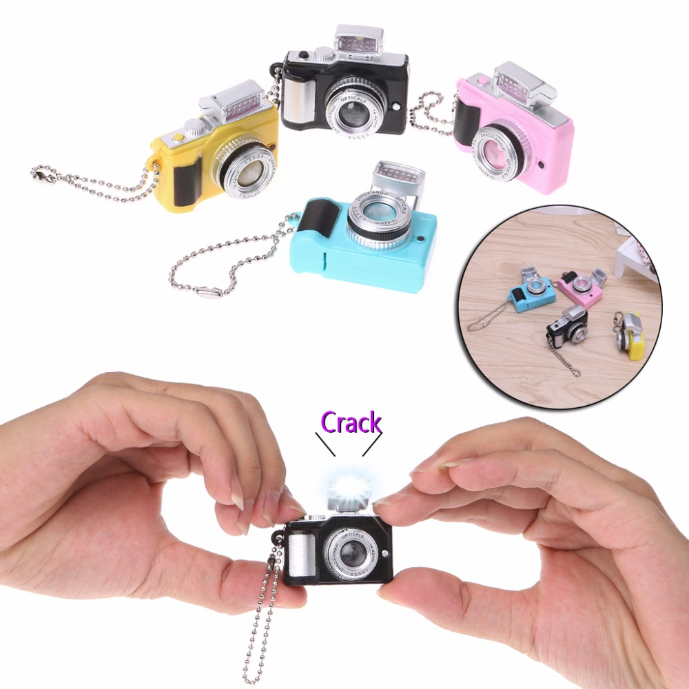 HBB Keychains Creative Camera Led With Sound LED Flashlight Funny Toy Candy Color