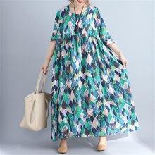 049182fb0b5a6 Plus la Taille 5XL 2018 D été Femmes Mode Élégante Nouveauté Imprimer coton  Lin Tops Lady Femme Big Swing Long Tendance Robe rob.