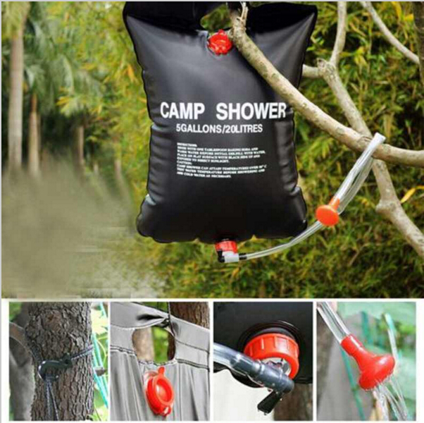 Hot Sale 20L 5 Gallons Portable Solar Heated Camp Hiking PVC Heat Shower  Bag Outdoor(