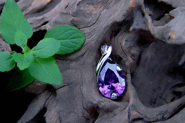 ล่าสุดใหม่ Amethyst สีม่วง CZ 925 Sterling Silver Water Drop จี้สร้อยคอ Nice แฟชั่นผู้หญิงอัญมณี W