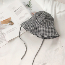 d271cb699ea30 Fresh Plaid Checked Kid Bucket Hat Baby Sun Hat Collapsible Fisherman Cap  for Spring Summer Picinic