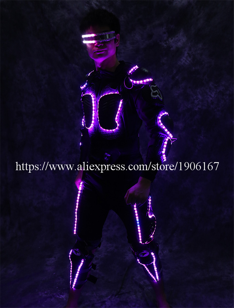New Arrival Fashion LED Armor Light Up Jackets Costume Glove Glasses Led Outfit Clothes Led Suit For LED Robot suits3