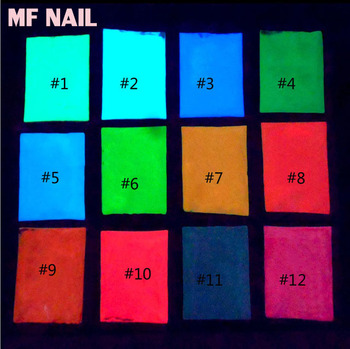 Luzem świecące w ciemności proszek-10g 12 kolorów najdłuższy trwały proszek świecący w ciemności pył paznokci efekt fluorescencyjny Luminous Powder tanie i dobre opinie MAFANAILS 545445 resin Paznokci brokat FPB121 glow in dark pigment powder 12colors 10g bag glow in the dark powder luminescent pigment