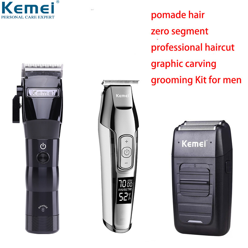 100-240V Kemei Professional Electric Hair Clipper Cordless Oil Head Hair Trimmer Beard Shaver Hair Cutting Machine Barber Mower
