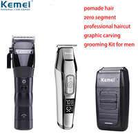 100-240V Kemei professionnel électrique tondeuse à cheveux sans fil huile tête tondeuse à cheveux barbe rasoir cheveux coupe Machine barbier tondeuse