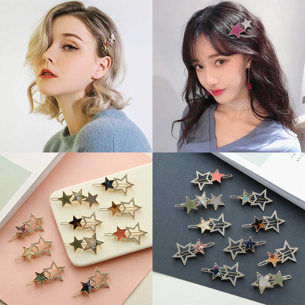 1pc Women Cute Acetate Round Star Alloy Hair Clip Headwear Hair Ornament Headband Hairpin Barrette Fashion Hair Accessories