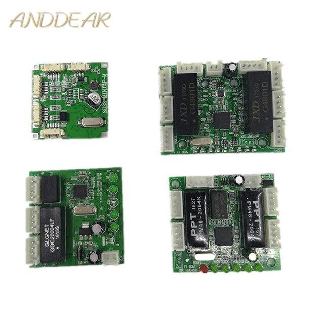 Mini การออกแบบโมดูล ethernet switch แผงวงจรสำหรับโมดูลสวิทช์ ethernet 10/100 mbps 3/4/5 /8 พอร์ตบอร์ด PCBA เมนบอร์ด OEM