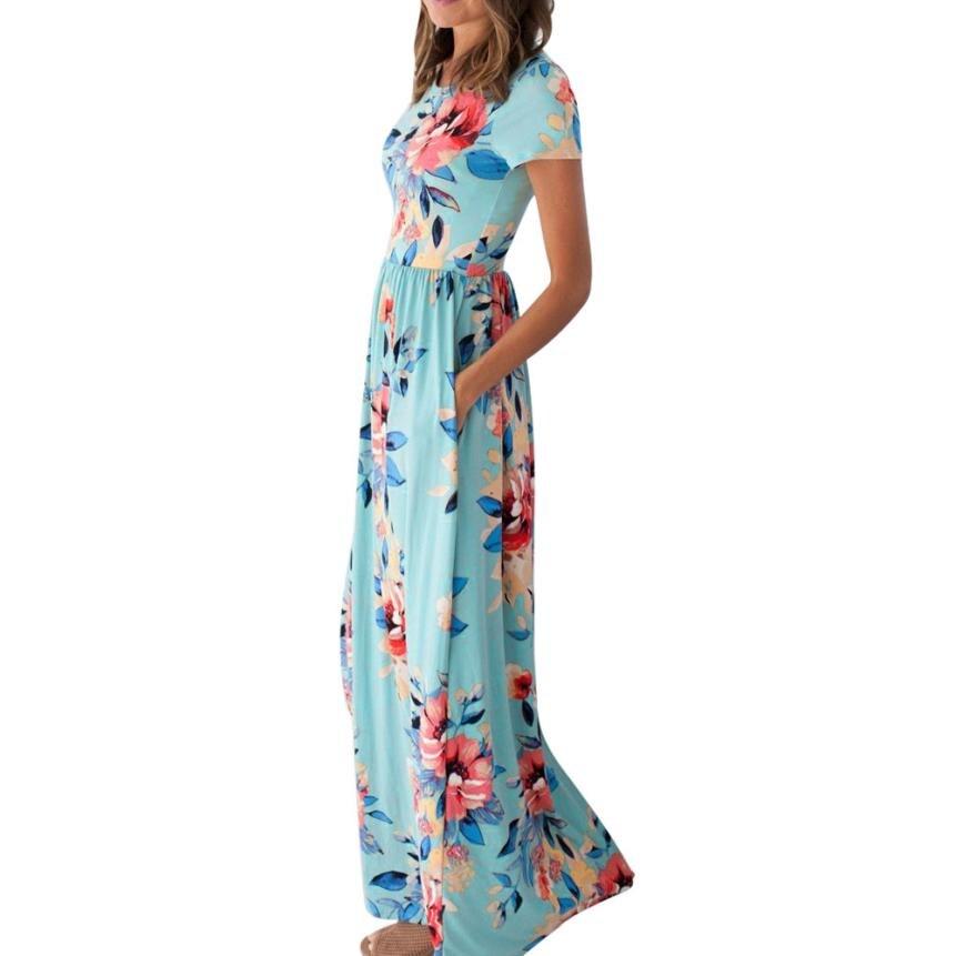 La meilleure Vente Femmes Robe D'été À Manches Courtes Imprimé floral Beach Party Casual Long floral maxi robe zomer jurk moda praia