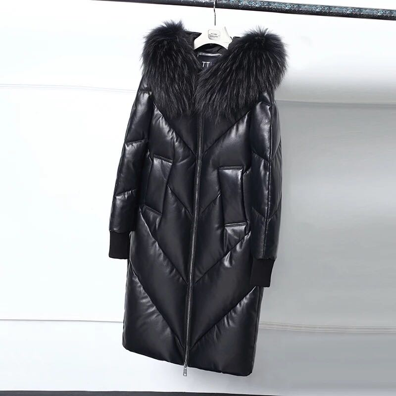 Col Black 2018 Le Capuchon Extérieure Veste Cuir Long Tressé Femmes Le202 Fourrure Bas Et À De En army Véritable Épais Hiver Manteau Chaud Nouvelle Green Vers rwzrqOg