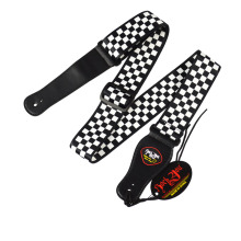 Rock You Guitar Strap Leather Black White Plaid Acoustic Electric Ukulele Bass Adjustable Accessories