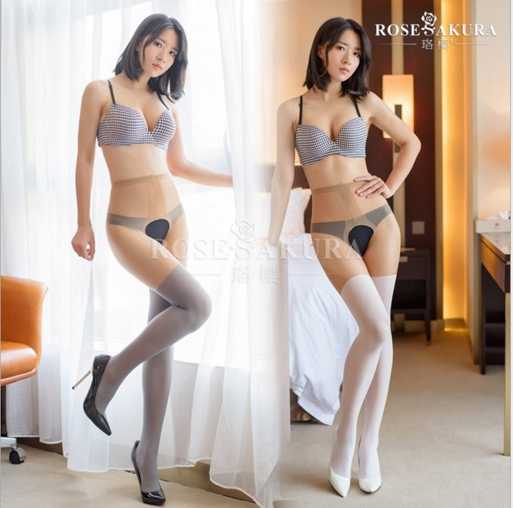 MOCK SUSPENDER TIGHTS 20D Women's Fake Thigh High  Open-crotch High Waist Pantyhose, Crotchless Open Gusset Tights