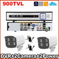 Dvr для охраны дома kit камеры системы видеонаблюдения 4ch DVR kit с 2 шт. видеонаблюдения дешевле пуля аналоговый смо 900tvl