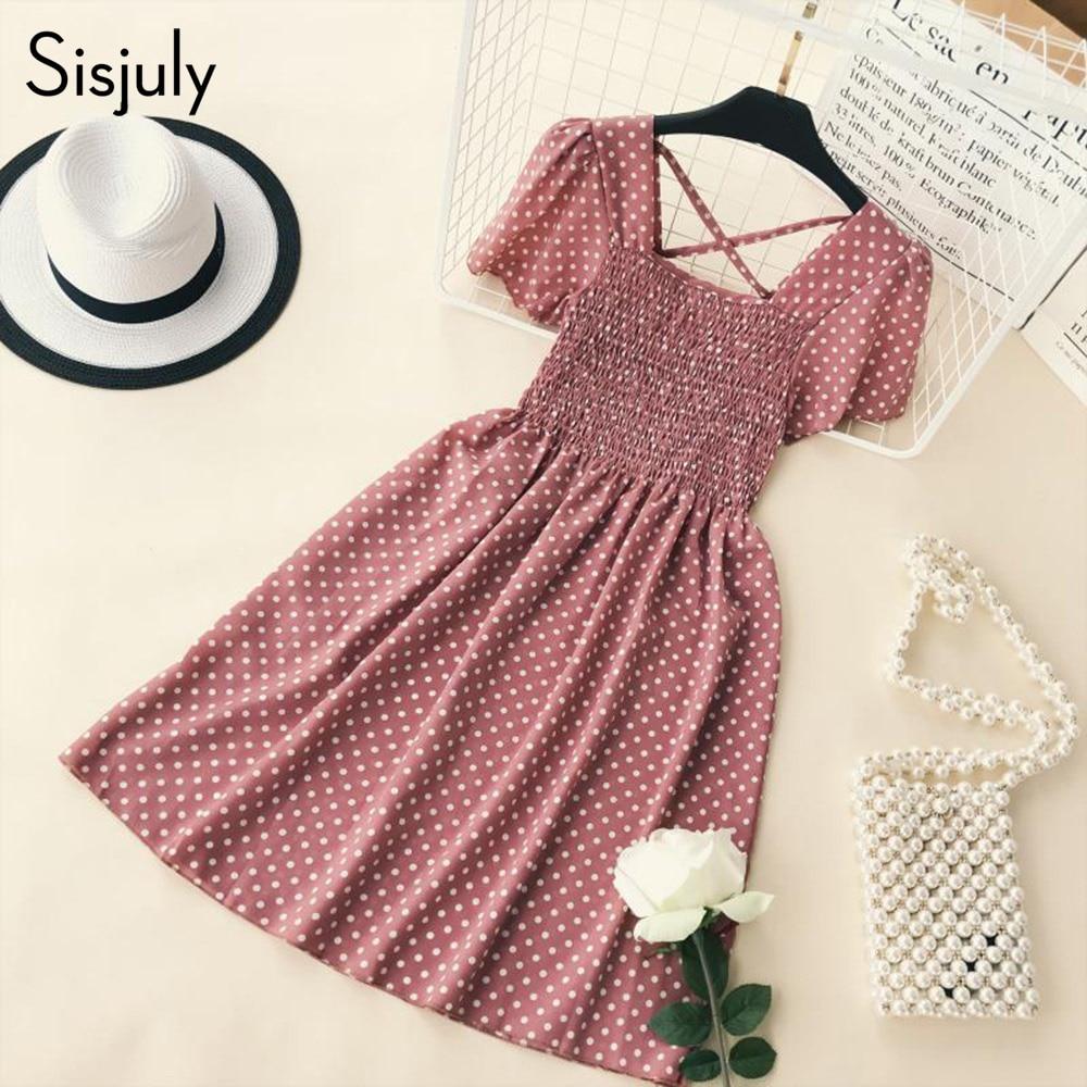 Sisjuly Polka Dots Mini Dress Vintage Women 2018 New A line Pleated Preppy Backless Slim Hot Girls Trip Sweet Short Plaid Dress