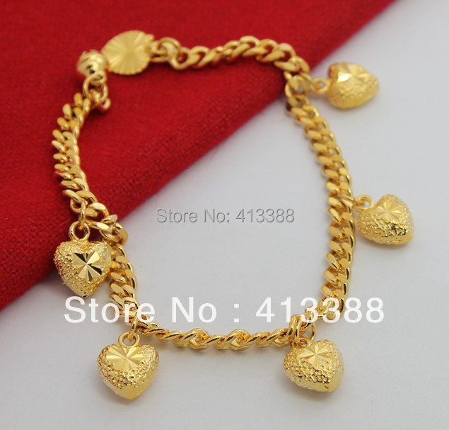 BR1181  New arrivals 4.5mm Figaro Chain Six Gold Heart Bracelet Jewelry Fashion Sell Like Hot Cakes Bracelets