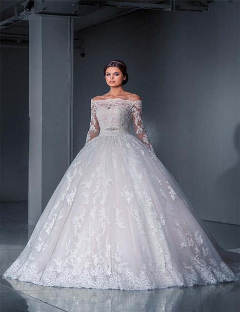 New Arrival Hot Sale Classy Wedding Dress With Boat Neck Off The ...