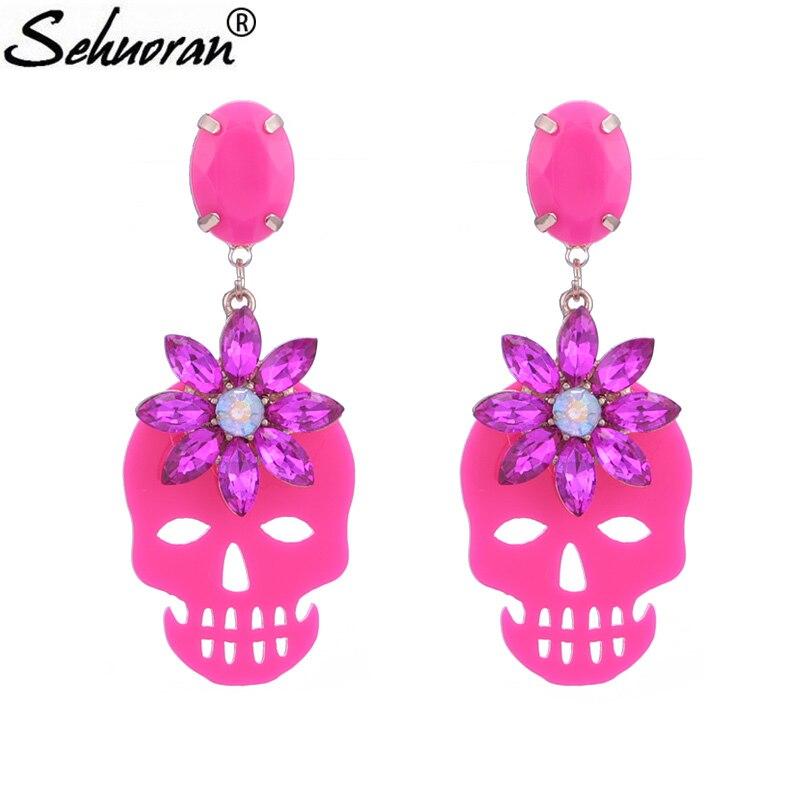 Sehuoran Crystal Stone Beautiful Color Drop Earrings For Woman Zinc Alloy Pendients Resin Skull Earrings Fashion Jewelry Gifts