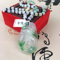 Zhe Ru Jewelry Pure Natural Jadeite Ice Bottom Green Ruyi Pendant Tricolor Jade Bead Pendant Chain Send A Certificate