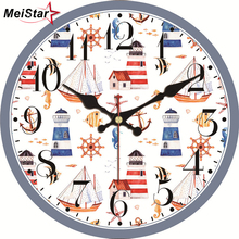 hot deal buy meistar vintage clocks cartoon design silent living room home decor clocks for children's study wall art  large wall clocks