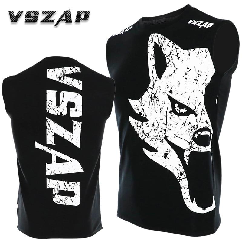 VSZAP Sleeveless Thailand THAI Boxing MUAY THAI Training Combat Jiu Jitsu T Shirt Fight MMA Wulin Fitness Shirts