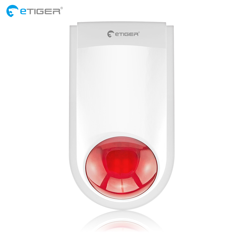 Etiger J008 Sirène D'alarme Sans Fil Sirène Extérieure Pour Système D'alarme Anti-Intrusion Cambrioleur S4 S3B V2