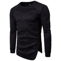 Mens 3D Royal Embossing Slant Cut Bottom Hoodies Sweatershirts 2017 Winter Brand New Fashion Solid Spot