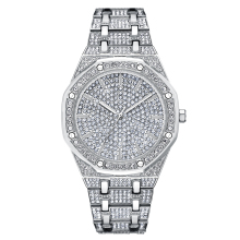 Top Luxury Men Watch Women Dress Watches Fashion Silver Quartz Male Big Dial Rhinestone Wristwatches New reloj mujer