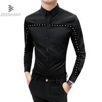 Camisa Social Slim Fit Tuxedo Shirts Men Baroque Shirts Mens Club Outfits Smoking Wedding Dress Shirt