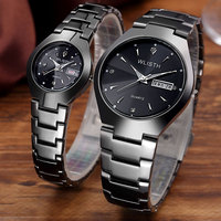 WLISTH Fashion and Casual Full Steel Lovers Wristwatch Luminous 30M Water Resistant Business Couple Watches With Calendar