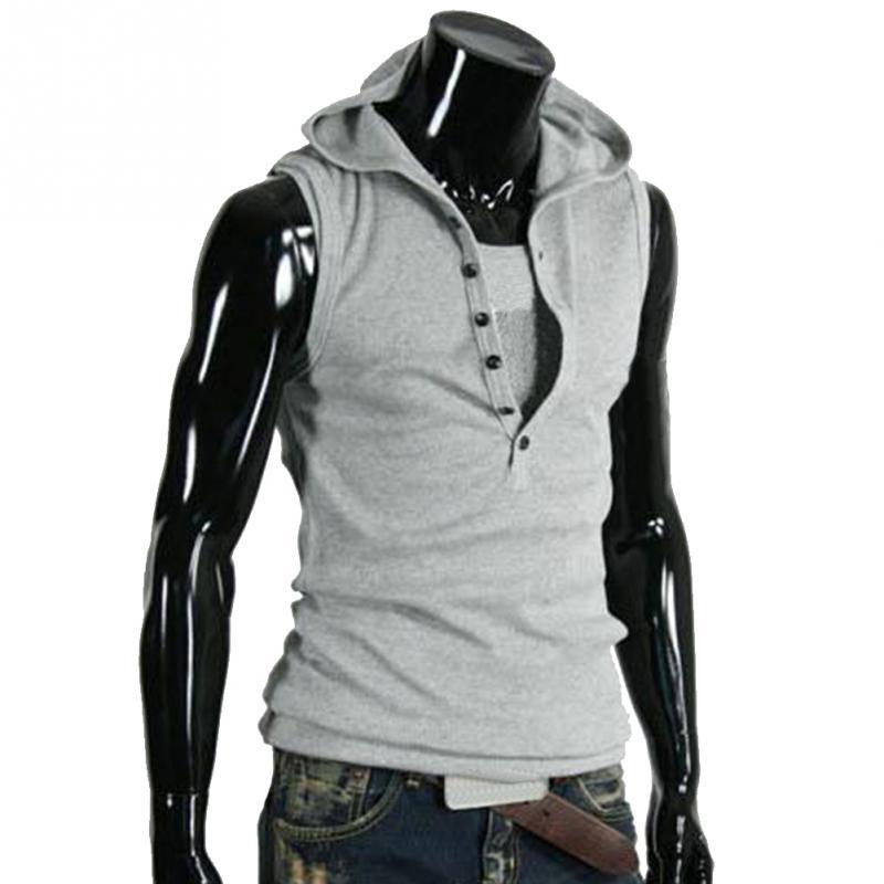 3b9979f0 2018 Fashion Boys Hoody Vest Men Casual Fastener Slim Hoodie Sleeveless  Vest Tee T-shirt Tank