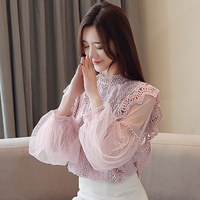 4 Type Of Lace Patchwork Mesh Lantern Long Sleeve See Through Casual Sweet Pink T Shirt Women Spring New Palace Style