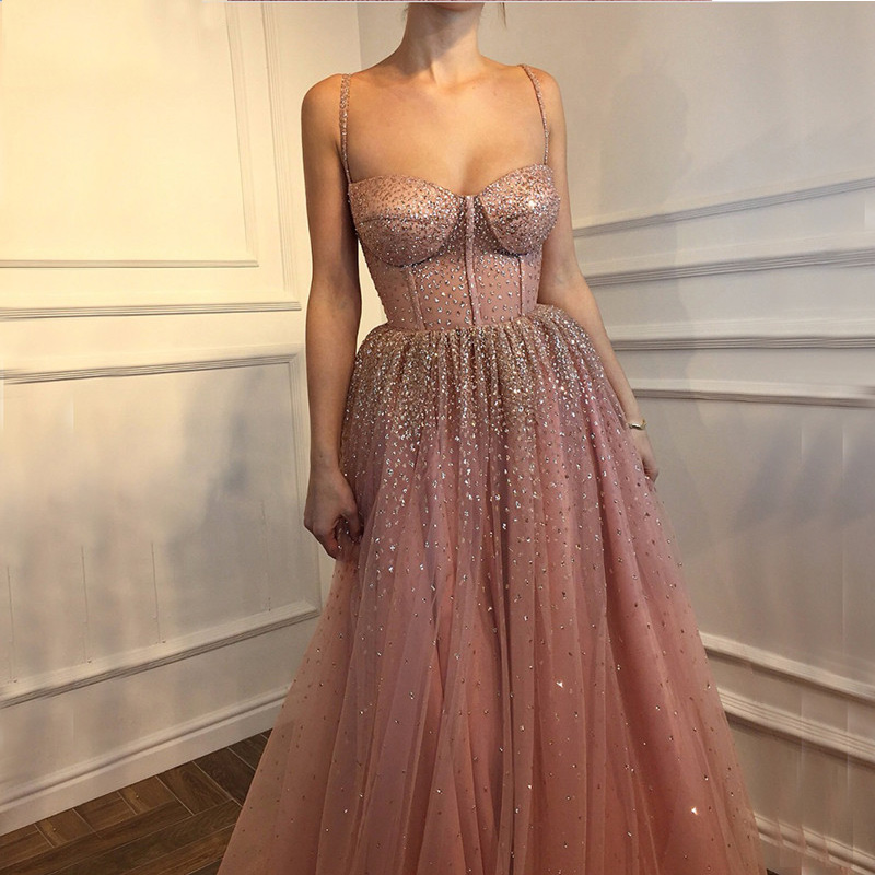 Pink Glitter Sleeveless Beaded Tulle Long Evening Dresses 2019 Thin Spaghetti Strap Sexy Fashion Formal Evening Gown Prom Dress