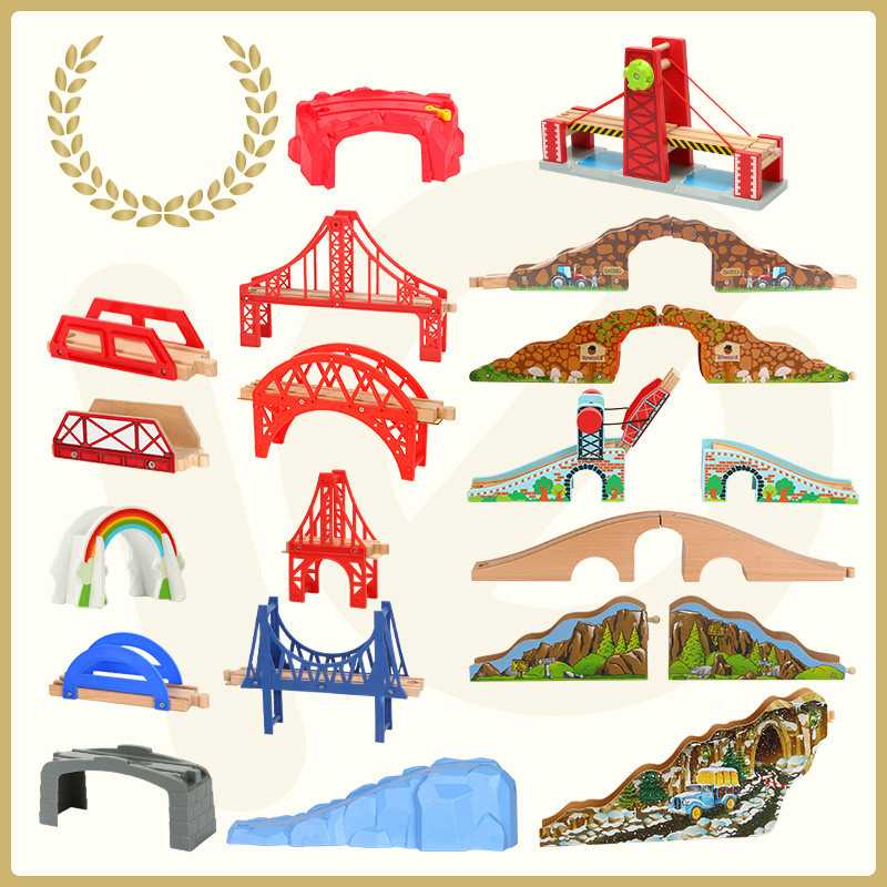 Track Wooden Toy Train Railway Bridge.Accessories Component Toys Tunnel Useful