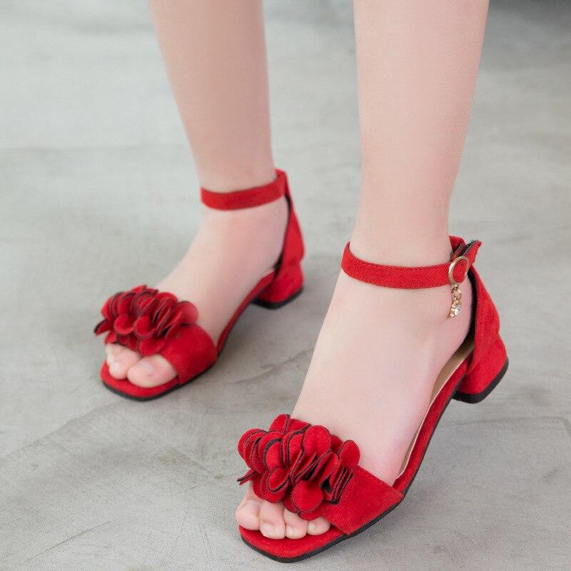 Sandales filles fleurs 2019 chaussures de plage pour enfants princesse enfants sandales chaussures d'été fille talons hauts 4 5 7 8 9 10 11 12 ans