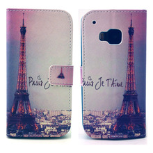 City Eiffel Tower Design Pu Leather Flip Magnet Wallet Stand Pouch Cover Case For HTC One