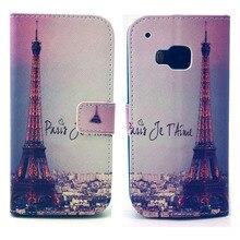 Cidade Torre Eiffel Projeto Pu Leather Virar Magnet Wallet Fique Pouch Case Capa Para HTC One M9 Nova Hotsale