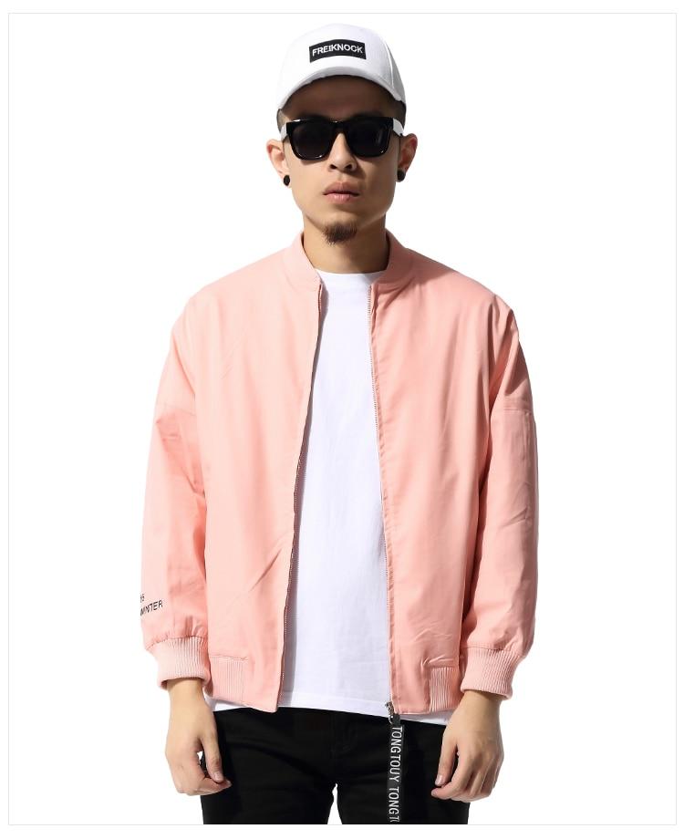 Retro Style Men Jacket Streetwear Hip Hop Pink Clothes Letter Design