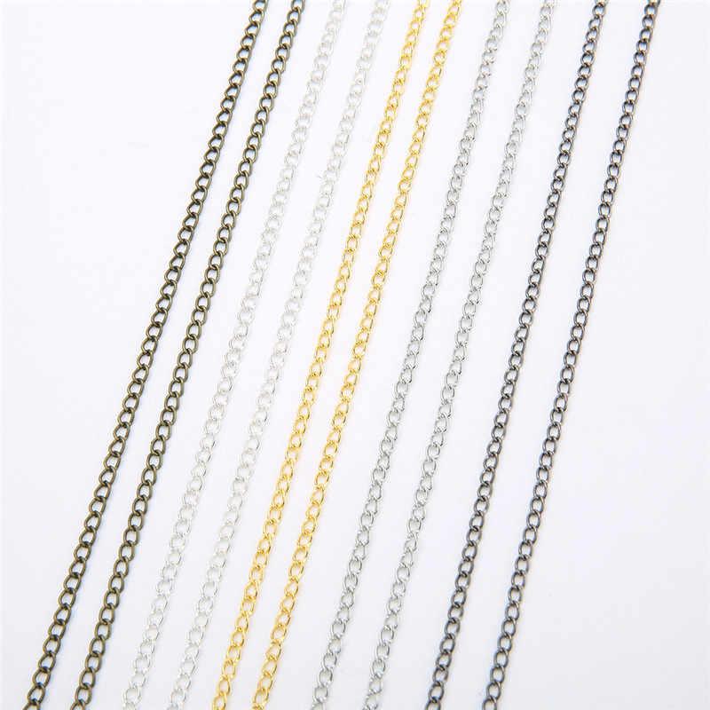 5 m/lote de hierro cadenas collar de metal a granel de bronce de plata de oro de Color rodio cadenas de enlace abierto para la fabricación de la joyería DIY Craft materiales de