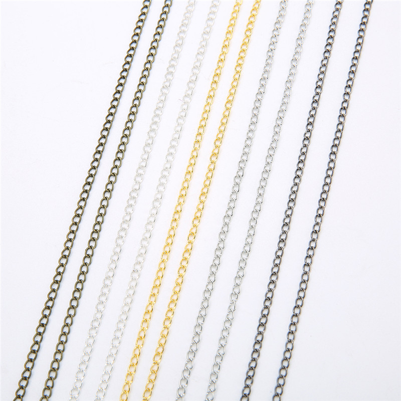 5m/lot Iron Metal Necklace Chains Bulk Gold Silver Bronze Rhodium Color Open Link Chains For DIY Jewelry Making Craft Materials