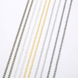 5m/lot Iron Metal Necklace Chains Bulk Gold Silver Bronze Rhodium Color Open Link Chains