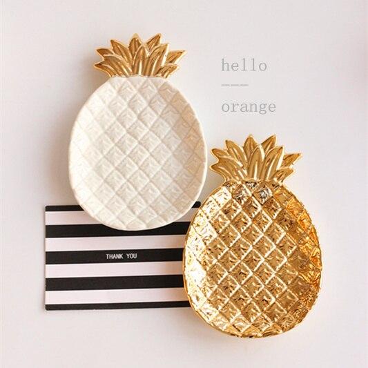Export Europe gold pineapple ceramic decorative plate storage tray