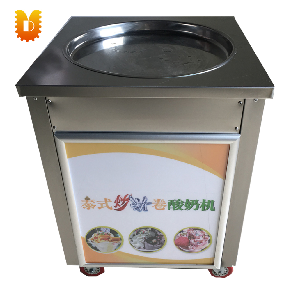 intelligent yogurt frying machine ice cream roll making machine chinese single round pan rolled ice cream machine fried ice cream roll machine with 6 barrels