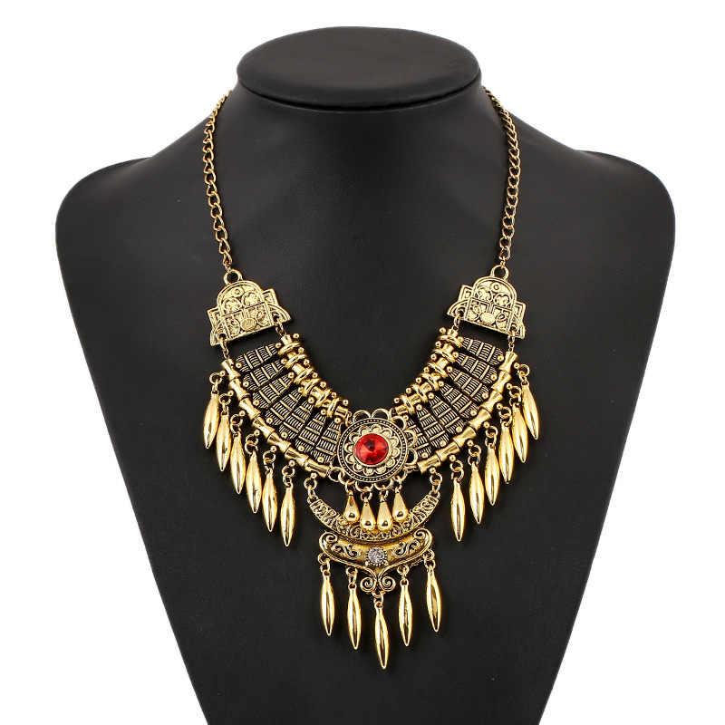 2017 fashion bohemian gypsy colar collier maxi do vintage colar declaração pingentes colar longo punk tassel choker collares