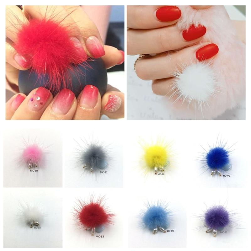 Bonito 5 pçs fofo bola de pelúcia 3d decorações da arte do prego destacável jóias magnéticas 16 cores manicure acessórios da forma