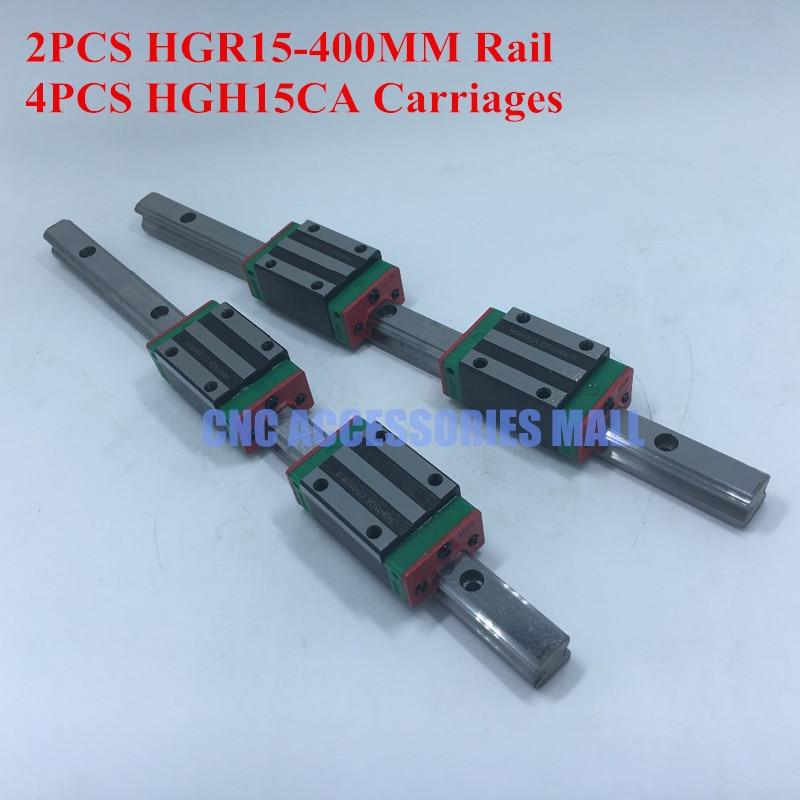 2pcs HIWIN Linear Rail HGR15 400mm + 4pcs Rail Linear Block HGH15CA for CNC Router2pcs HIWIN Linear Rail HGR15 400mm + 4pcs Rail Linear Block HGH15CA for CNC Router