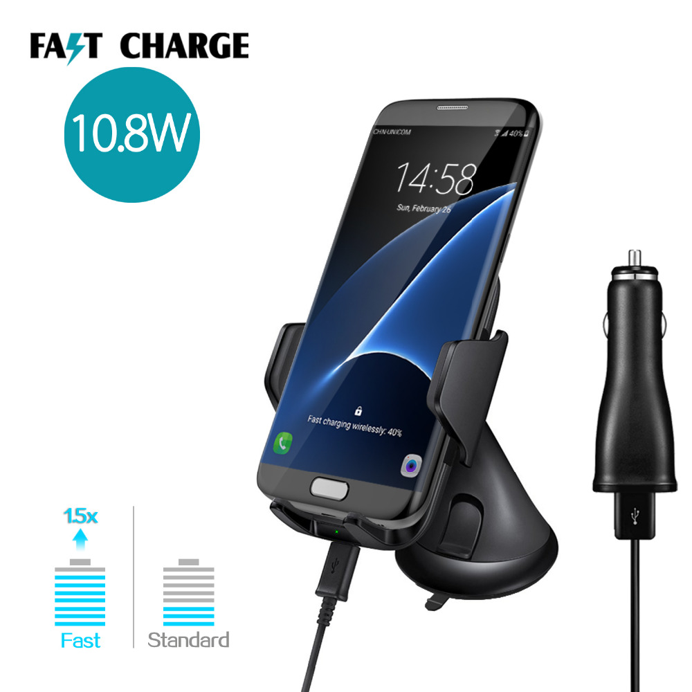 4 inch to 6.3inch Smartphone Holder Stand Mount Wireless Charger For Samsung S7 S8 S6 Edge Plus Note 5 Mobile Phone Car Charger