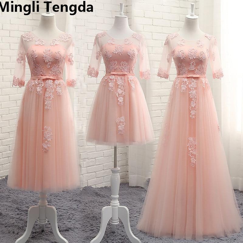 Mingli Tengda Silver   Bridesmaid     Dress   Long Wedding Party   Dress   Elegant Women   Dress   Lace Pink Long   Bridesmaid     Dresses   Half Sleeve